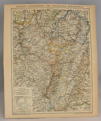 Rare Collectable Map of the Germany France Border   Original Antique Print 1897