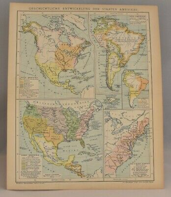 Rare Historical Map ofNorth & South America: Collectable Antique Print 1893-97