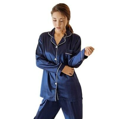 Sexy Womens Silk Satin Nightwear Long Sleeve Pajamas Pijama Suit Sleepwear Set c