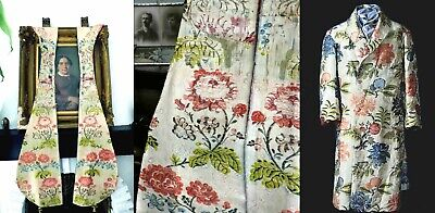 1740s SUPERB 2 SPITALFIELDS POLYCHROME FLORAL SILK PANELS - OPEN ROBE/BANYAN