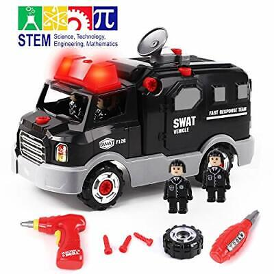 GILOBABY Take Apart Toys Police Racing Car Toys,STEM Toys 32 PCS Build On Your