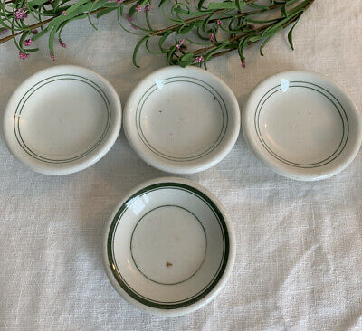 """Lot of 4 VINTAGE White ~ Green Stripe RESTAURANT WARE IRONSTONE BUTTER PATS ~ 3"""""""