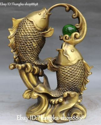 Chinese Pure Bronze Fengshui Double Fish Fishes Goldfish Animal Play Bead Statue