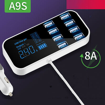 8 Port Quick Charger USB 3.0 with LED Display Car Mobile Phone USB Charger fr ca