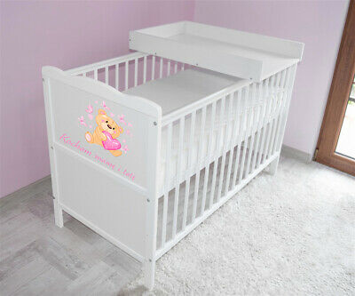 Wooden Baby Cot Bed✔Mattress✔Top Changer✔Teething rails-Converts to Junior Bed