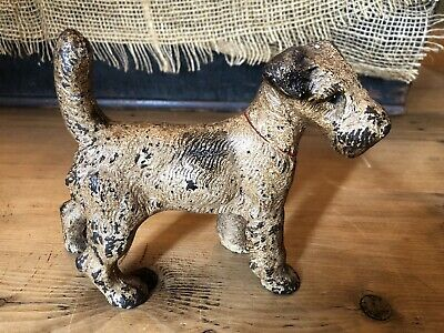 "Antique Hubley Cast Iron Fox Terrier Doorstop Dog 6 1/2"" Long"