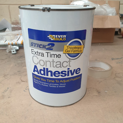 5Ltr Everbuild Stick 2 Extra Time Contact Adhesive for Laminate Wood PVC Rubber