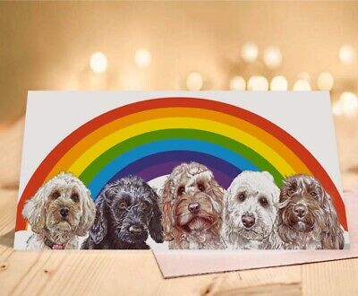 Single Luxury Long Cockapoo Rainbow Birthday Card Gift/Present Dog