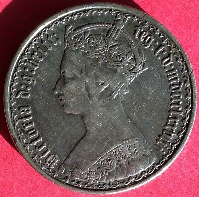"1878 Great Britain ""Gothic Type"" Florin (Two Shillings) Old Sterling Silver Coin"