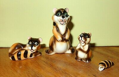 3 Pc Set Vintage Miniature Bone China Mother Racoon & Baby Broke Tail Figurines
