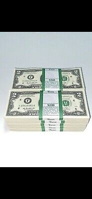 Lot Of 5 CRISP BRAND NEW 2013 $ 2 DOLLAR Bill UNCIRCULATED US CURRENCY (F)Seal