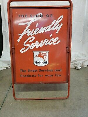 Mobil Gas Socony Vacuum Pegasus Friendly Service Curb Sign Vintage Collecatable