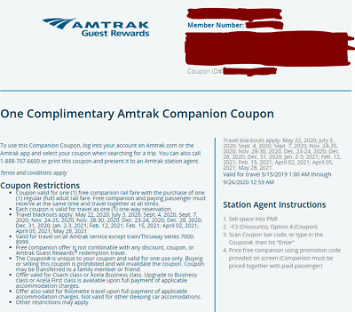 Amtrak Companion Coupon - Buy one fare, get one (exp 2020/09/26)