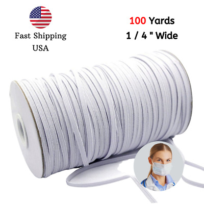 100 Yards Braided Elastic Bands for Sewing 1/4 inch, 6mm White, Perfect fo Mask