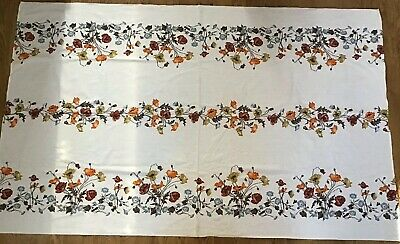Vintage 1970s Floral Terrycloth Tablecloth Orange Brown Flowers New 53x87