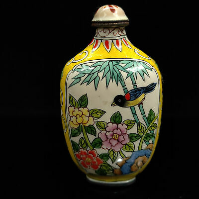 Chinese Antique collection Cloisonne Flowers birds snuff bottle Qian Long W Mark
