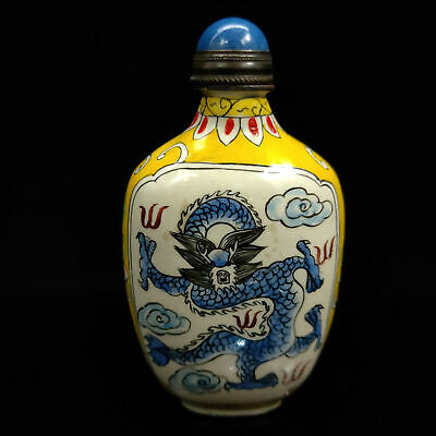 Chinese Antique collection Cloisonne Dragon snuff bottle Qian Long W Mark