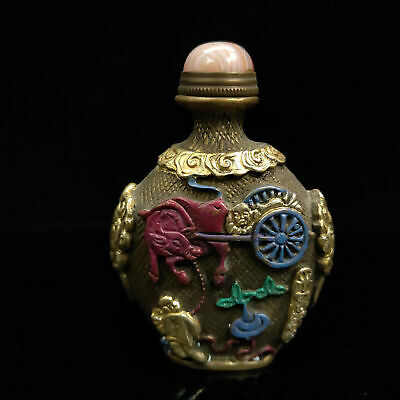 Chinese Antique collection Brass Painted Gilt snuff bottle  BYH-013