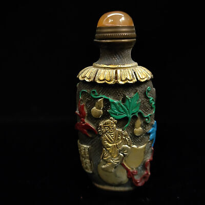Chinese Antique collection Brass Painted Gilt snuff bottle  BYH-004