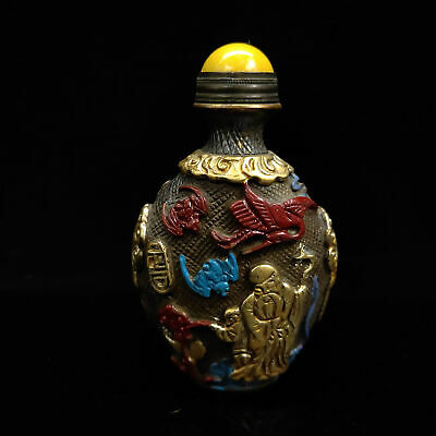 Chinese Antique collection Brass Painted Gilt snuff bottle  BYH-003