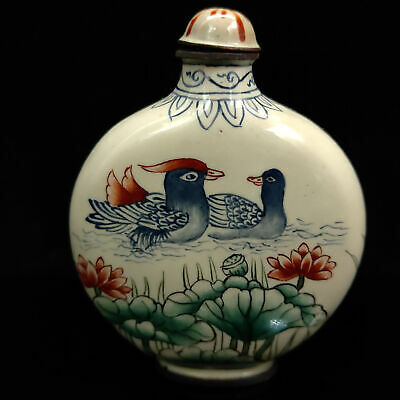 Chinese Antique Cloisonne mandarin duck Red-crowned crane Pattern snuff bottle