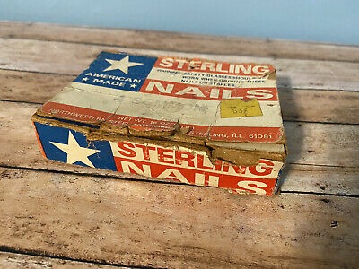 VINTAGE hardware NAILS Sterling, Made in USA ~ 4 Common Sterling, ILLINOIS