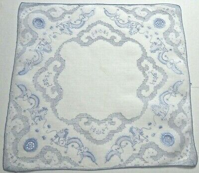 Vintage Appenzell Embroidery Linen Hanky Dragons Lace Inserts Extremely Delicate