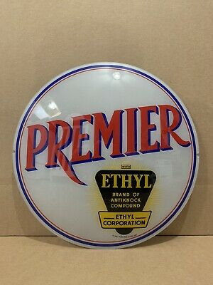 Premier Ethy Gas Pump Globe Light Vintage Glass Lens Service Station Garage Sign