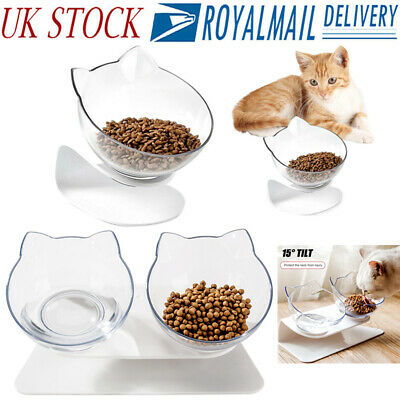 Non-slip Single/Double Bowls w/Raised Stand Pet Food Water Bowl Cats Dog Feeder