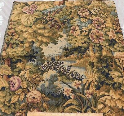 """Antique c1900 French Scenic Floral Jacquard Tapestry Fabric Sample~L-30"""" X W-24"""""""