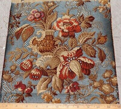 """French Antique 19thC Cotton Jacquard Floral & Vase Tapestry Fabric~24"""" X 11.5"""""""