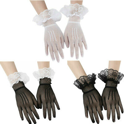 1 Pair Women Stretch Fishnet Lace Hollow Short Gloves Full Fingers Wrist Length