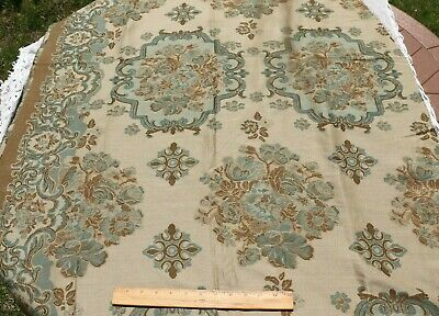 Antique c1900-1920 French Wool Jacquard Woven Sample Fabric~Frame W/Border