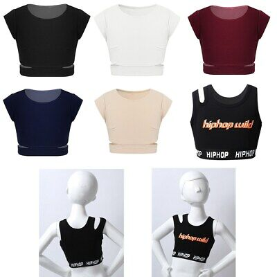 Kids Girls Vest Crop Top Bra Blouse Casual Camisole  Ballet Dance Hip Hop Tops
