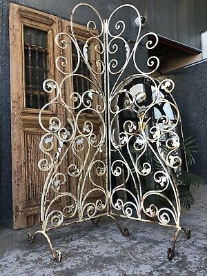 Antique C19th French Wrought Iron Garden Screen Or Room Divider