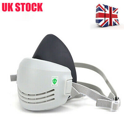 Rubber Dust-proof Face Respirator Gas Mask+2xFilter Cotton For Paint Spray UK
