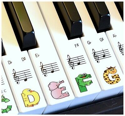 Stickers for 61 key Piano or Keyboard 36 fun stickers - great for kids!