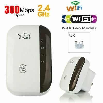 Wireless 300Mbps UK Plug WiFi Repeater WiFi Range Extender Signal Booster White