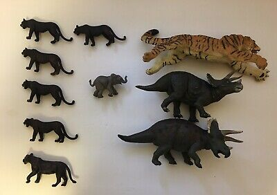 Schleich Safari Limited Lot Of 10 Animals Panther Tiger Triceratops