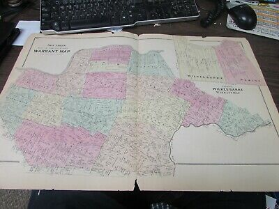 Antique - Warrant Map Southern Part Of Luzerne County Pa  - 1873 - Original