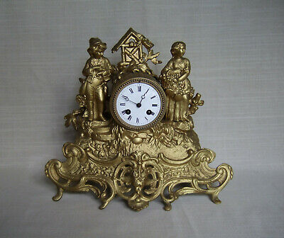 FRENCH ANTIQUE MANTLE Clock Circa 1860 all good