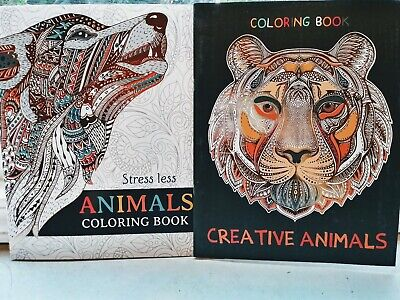 2 New Adult Coloring Books Animals Beautiful Books Lot of 2
