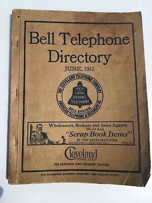 Bell Telephone Directory Cleveland OH June 1912