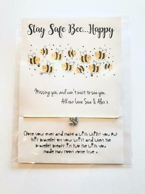 Stay Safe Don't Worry Bee Happy Friend Wish Bracelet Miss You Isolation Gift