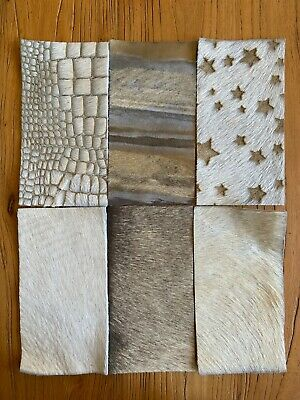Real Cowhide Greys /& Golds Assortment Pieces 8 cms x 15 cms Pack of 12