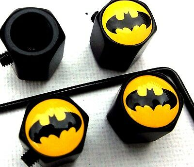 LOCKABLE BATMAN LOGO  DUST/VALVE CAPS bike theft van bike tyre metal