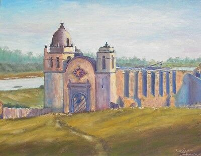 Carmel California Mission Oil Painting by Cerise Johnson from C.R. Savage Photo