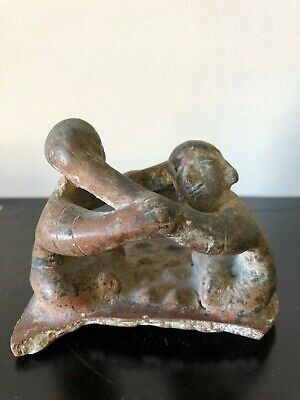 Pre-Columbian Colima  Wrestling Scene, Two figures,100 BC - 250 AD, solid clay.