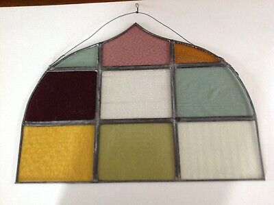 Early 20th century LEADED STAINED GLASS PIECE OF HANGING ART IN GOOD + condition