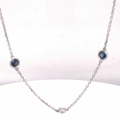 14K White Gold Natural Diamond Sapphire By The Yard Necklace 5 Stations 1.95 tcw